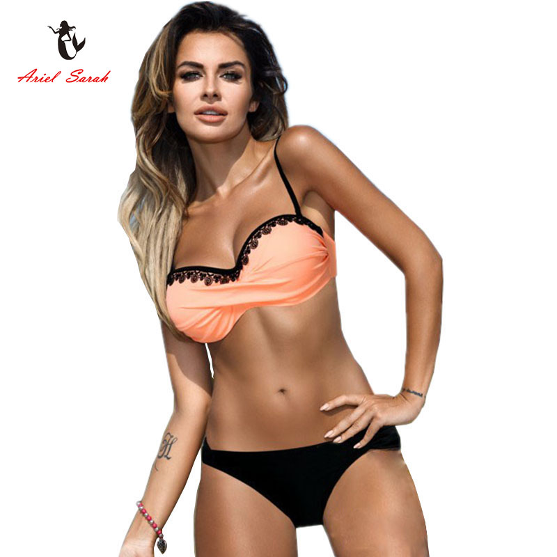 Ariel Sarah Push Up Swimwear Women Bathing Suit Lace Bikini 2017 Plus Size Bikini Halter Swimsuit Sexy Monokini Maillot De Bain ruuhee sexy halter one piece swimsuit swimwear bodysuit women push up bathing suit monokini maillot de bain femme bikini set