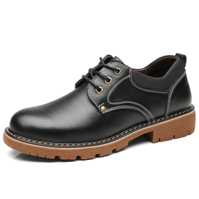 Image 2 - Vancat High Quality Men Casual Sheos 2018 New Genuine Leather Flat Shoes Men Oxford Fashion Lace Up Men's shoes Work Shoe-in Oxfords from Shoes