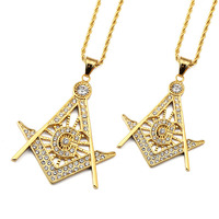 Trendy Gold Plated Rhinestone Iced Out Free Mason Pendant Necklace Hip Hop Style Men S Jewelry