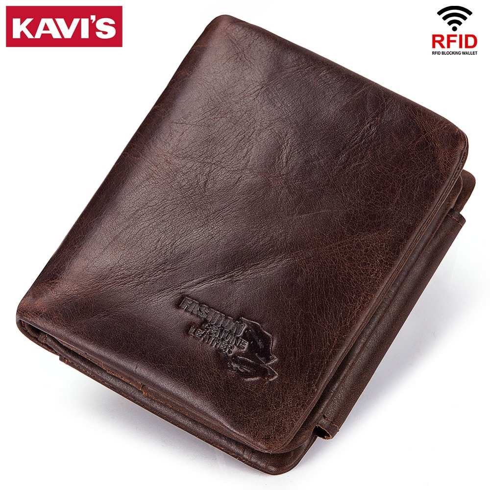 KAVIS Trifold Card Holder Genuine Leather Cowhide Men Wallet Male Coin Purse Small Portomonee PORTFOLIO Money Bag Fashion Pocket