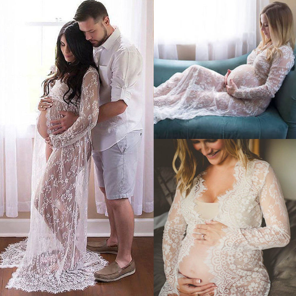 Summer Pregnant Lace Dress Women Front Split Long Maxi Maternity Black&White Lace Dress Gown Photography Prop See Through Dress(China)