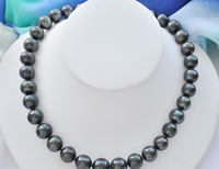 FREE shipping>>>>z6734 A++ 14mm ROUND BLACK Freshwater PEARL NECKLACE ball CLASP 6.07 6.8 6.09