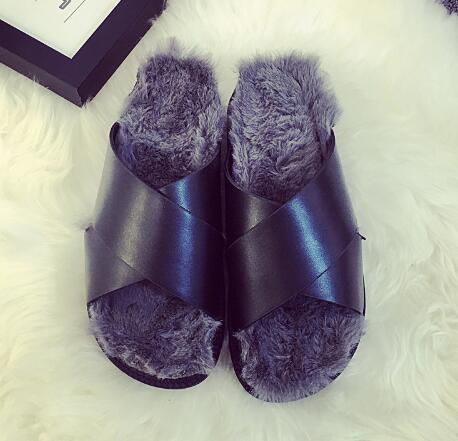 3 Цвет Пляж Вьетнамки Мода Зимние Меховые Сандалии Повседневная Обувь Женщина Скольжения На Ботинок квартир