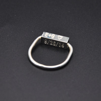 Wholesale 925 Sterling Silver Bar Ring 3D Cube Engraving Ring Name Date Stamp Custom Ring Personalized