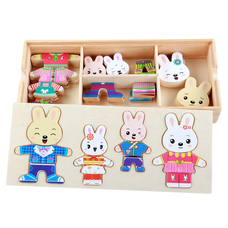 Image 2 - 72pcs Cartoon 4 Rabbit Bear Dress Changing Jigsaw Puzzle Wooden Toy Montessori Educational Change Clothes Toys For Children Gi-in Puzzles from Toys & Hobbies