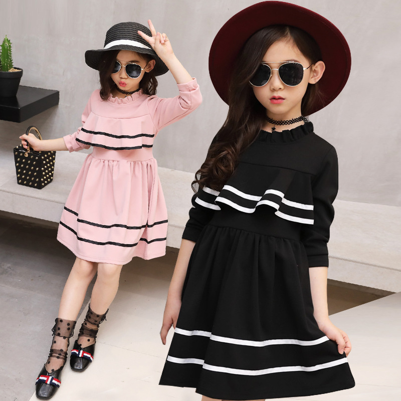Girl long sleeve casual fashion red black dress autumn for size 6 7 8 9 10 11 12 13 14 15 16 years child new princess dress girl dress autumn white long sleeved clothes korean cotton size 4 5 6 7 8 9 10 11 12 13 14 years kids blue lace princess dress
