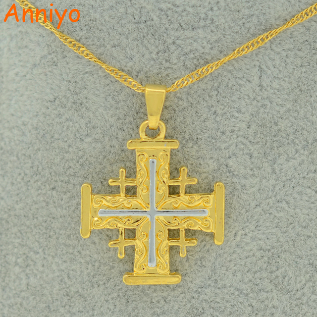 Anniyo jerusalem cross pendant necklace for women men yerushalaim anniyo jerusalem cross pendant necklace for women men yerushalaim jewelry charm gold color crucifix israel aloadofball Images