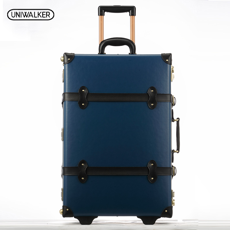 20 22 24 inches Blue Cow Leather Trolley Bags Travel Luggage Waterproof Cowhide Suitcase Bag With TSA Lock 2pcs set vintage pu leather travel luggage 12 20 22 24 26 retro trolley suitcase bags with spinner wheels with tsa lock