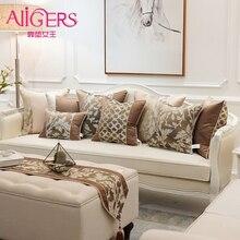 Avigers Роскошные коричневые декоративные подушки невидимая молния Лоскутная растительная цепь жаккардовые подушки Чехлы для дивана гостиной автомобиля