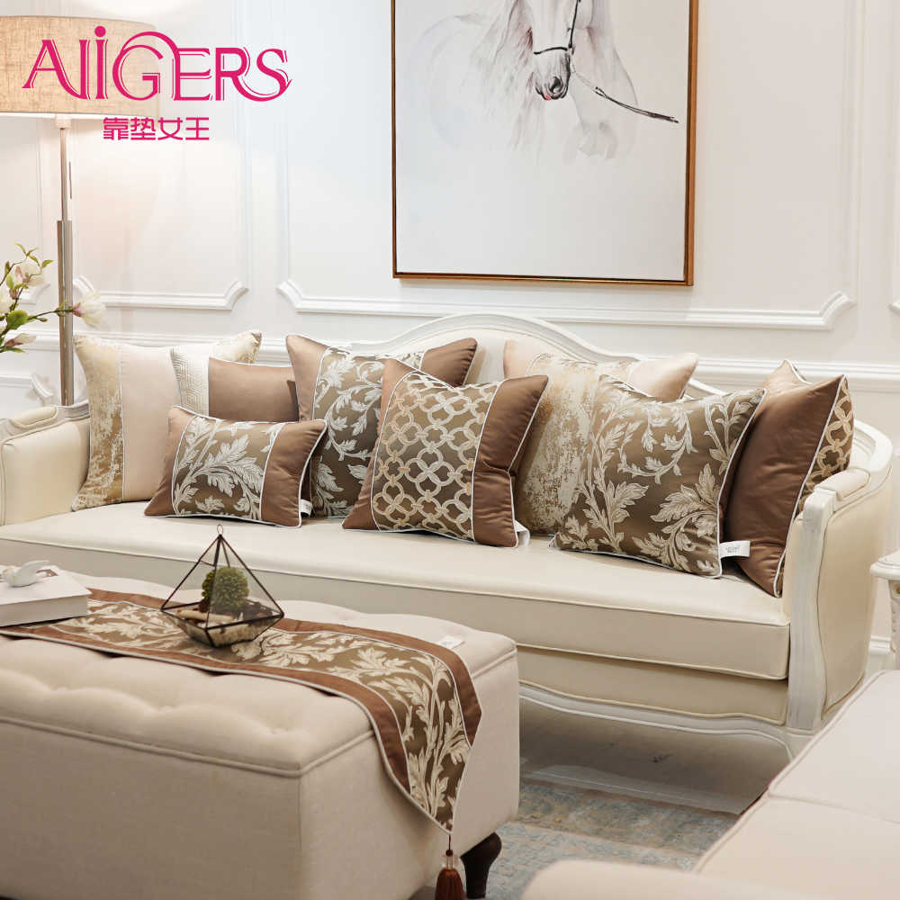 Avigers Luxury Brown Decorative Pillows Invisible Zipper Patchwork Plant Chain Jacquard Cushion Covers for Sofa Living Room Car