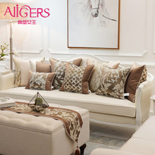 Avigers Luxury Brown Decorative Pillows Invisible Zipper Patchwork Plant Chain Jacquard Cushion Covers for Sofa Living Room Car(China)