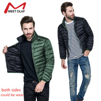 Casual Both Sides Wear Men Jackets Winter Warm Ultralight Stand Collar Two sides Down Cotton Padded Coats Man Parkas Park YL894