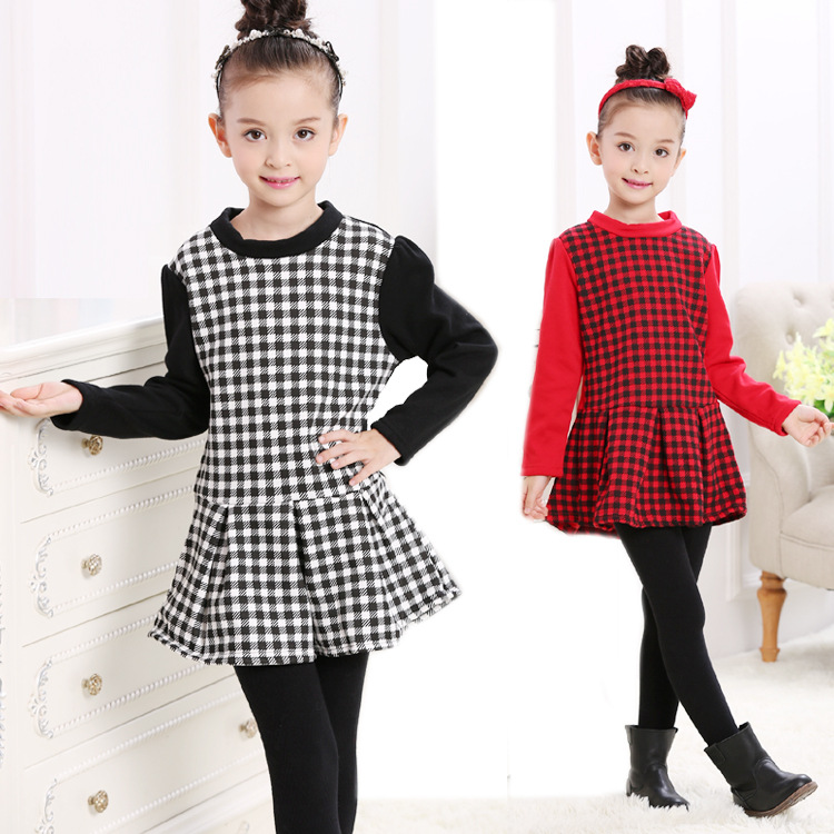 2018 Autumn winter Thick with velvet girls dress thickening Pure cotton Lotus leaf edge kids lattice toddler Children clothes