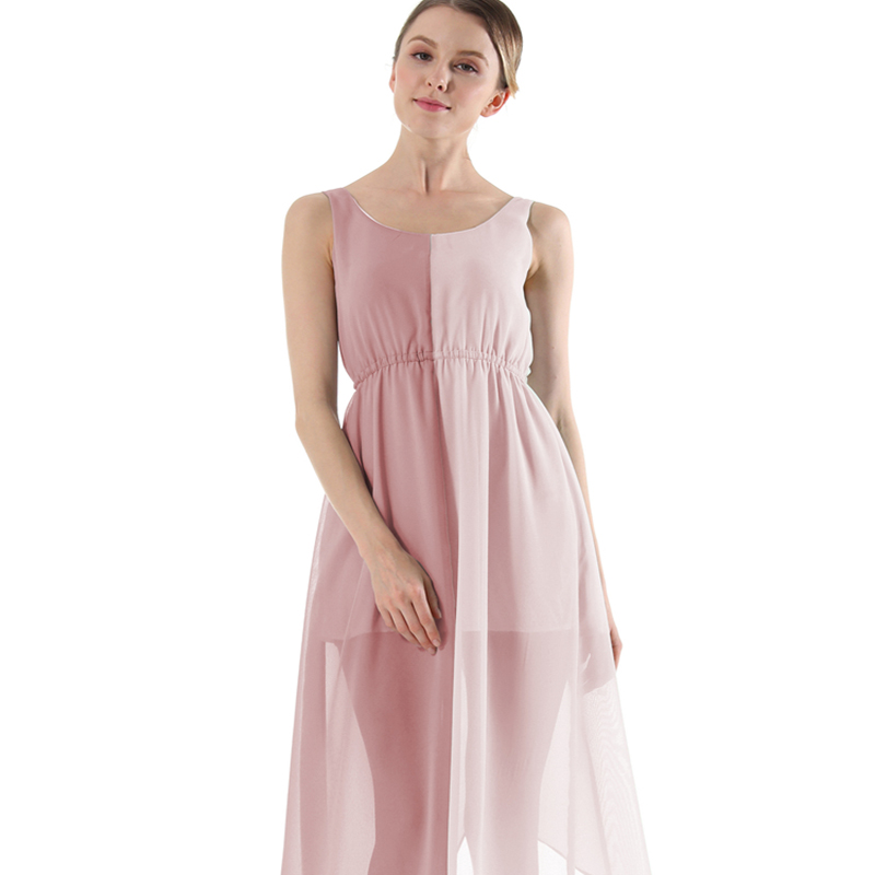 Femmes nouveau gilet sans manches sexy plage robe couleur correspondant irrégulière ourlet en mousseline de soie robe d'été