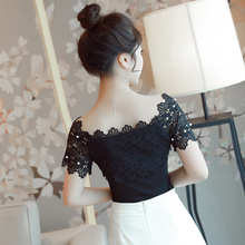 Women Sexy Short Sleeve Hollow Elegant Blouses (size S-XL)(2 colors)