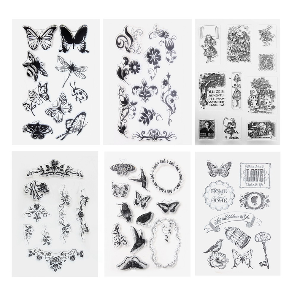 1pcs Butterfly Transparent Clear Stamp DIY Silicone Seals Scrapbooking Card Making Photo Album Christmas Decoration Supplies lovely animals and ballon design transparent clear silicone stamp for diy scrapbooking photo album clear stamp cl 278