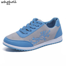 WHOHOLL Woman Casual Shoes Breathable 2019 Sneakers Women New Arrivals Fashion Mesh Embroidered Sneakers Women Flats Shoes 36-40