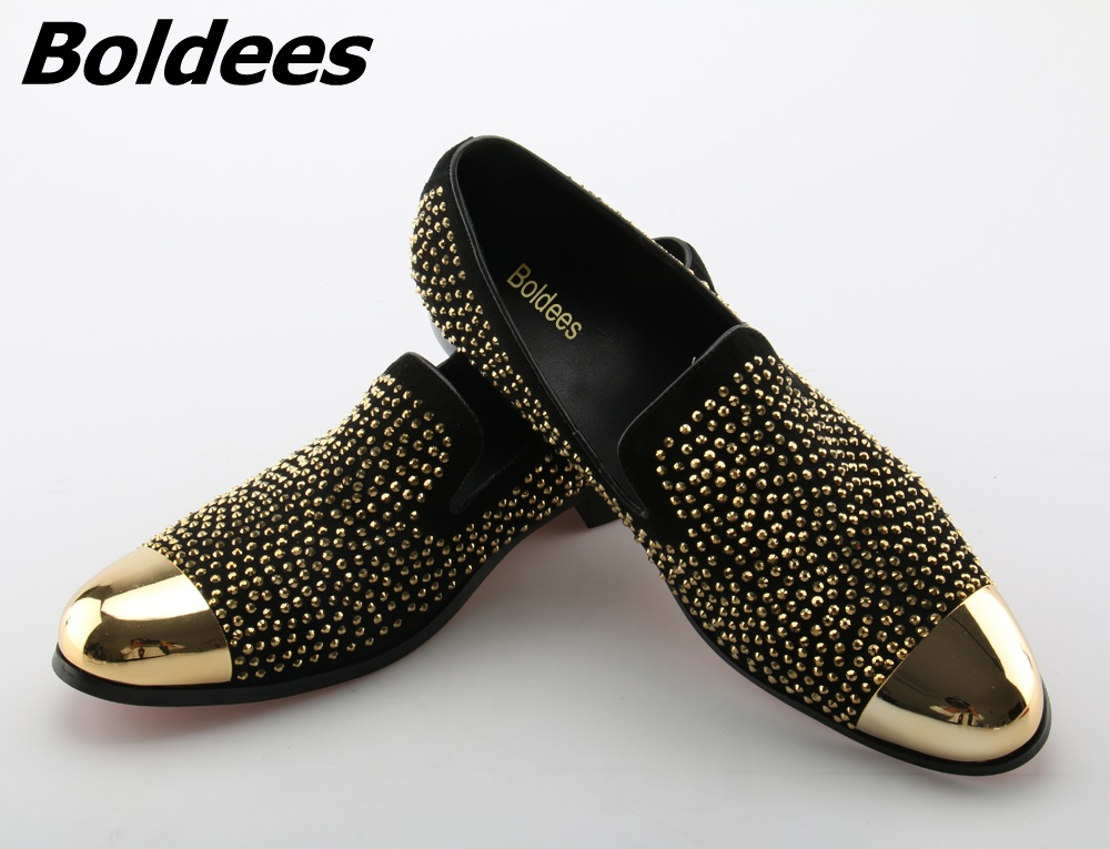 Boldees Mens Sparkling Rhinestone Men Shoes Gold Toe Crystal Flats Men Wedding Shoes Black /Red Slip-on Casual Loafers Big SizeBoldees Mens Sparkling Rhinestone Men Shoes Gold Toe Crystal Flats Men Wedding Shoes Black /Red Slip-on Casual Loafers Big Size