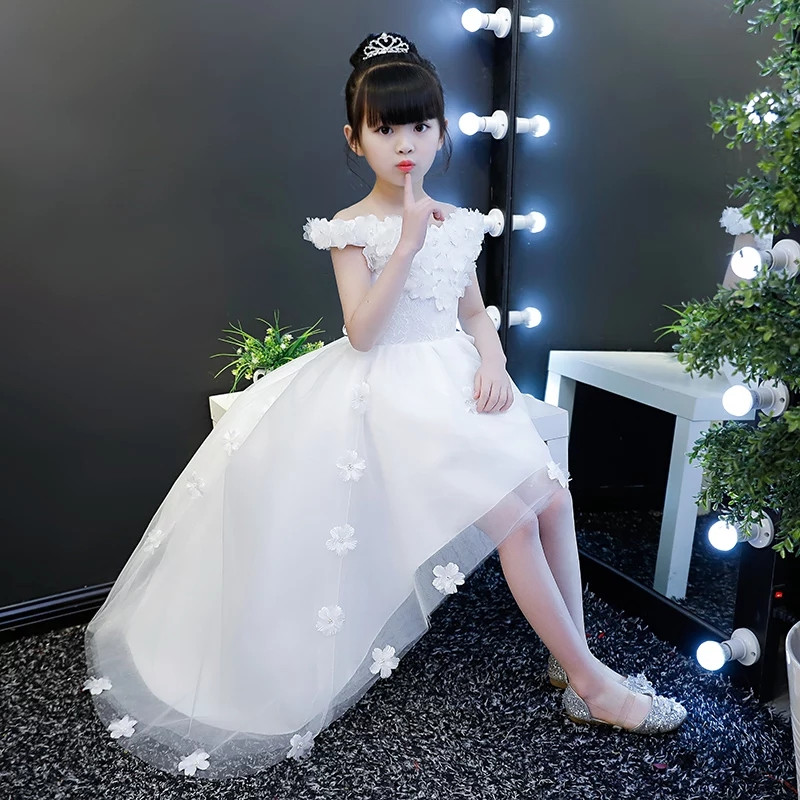 Kids Children White Color Birthday Wedding Party Appliques Flowers Princess Lace Tail Dress 2018 New Girls Teens Piano Dress 2017 new high quality girls children white color princess dress kids baby birthday wedding party lace dress with bow knot design