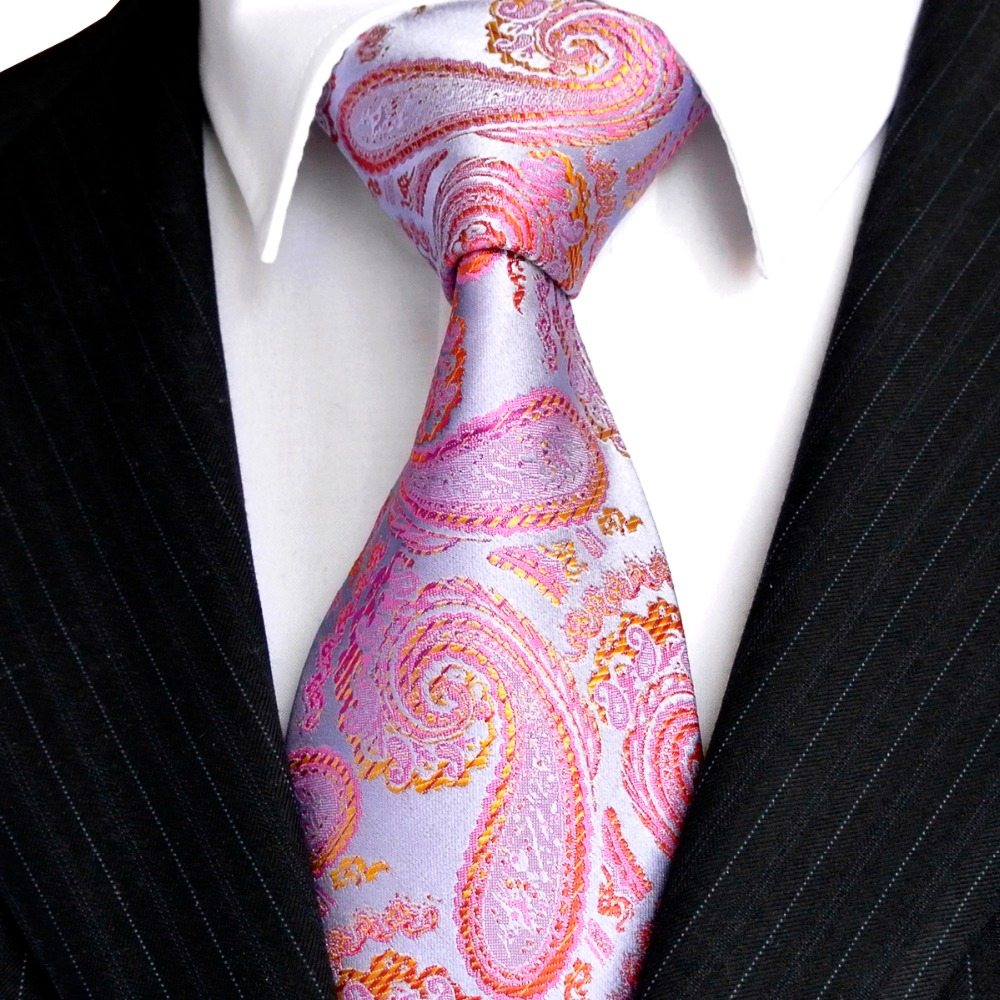 1eb8feac94 2 Color Paisley Silver Orange Yellow Blue Purple Pink Mens Ties Neckties  100% Silk Jacquard Woven Free Shipping Wholesale