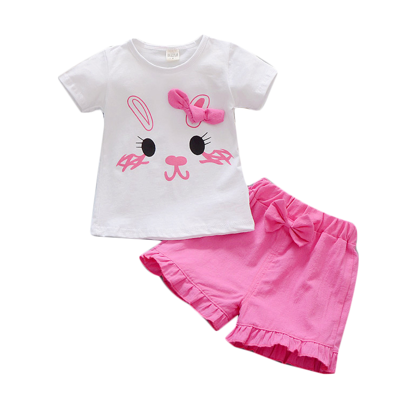 2Pcs/Set Baby Clothing Sets Girls Top+Short Summer Cotton Cut Bunny Print Infant Baby's Set Newborn Baby Girl Clothes cute slippers style usb flash drive with chain deep pink 16gb