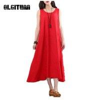 2018 Casual Retro Solid Summer Dress Women Elegant Loose Sleeveless O Neck Dress Cotton Linen Long Maxi Dress Vestidos DR427