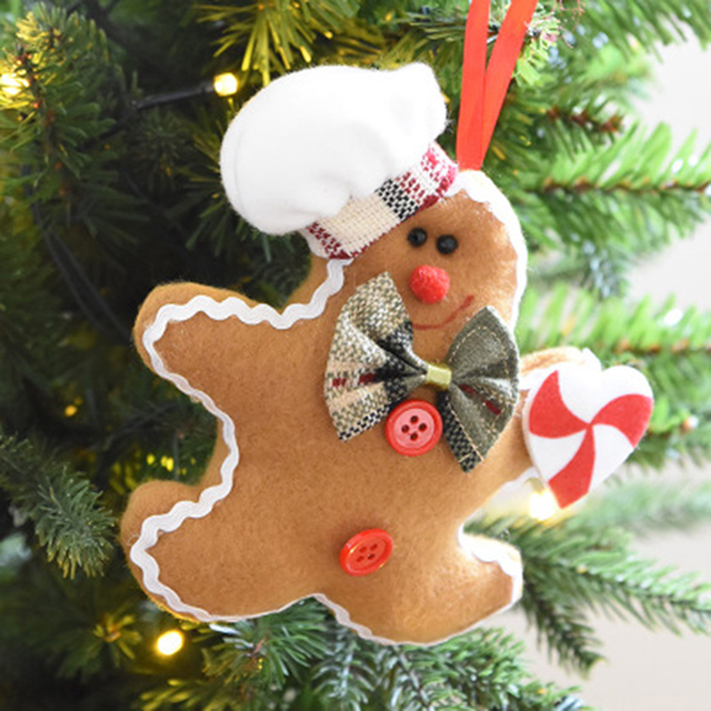 1 pc christmas gingerbread man ornaments festival xmas tree hanging decoration crutches love type christmas pendant