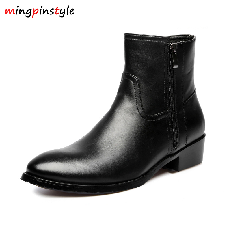 Hot Sales 2018 Leather Genuine Cowhide Leather Boots Men High Zip Top British Fashion Men's Fashion Style Chelsea Boots Black fashion style