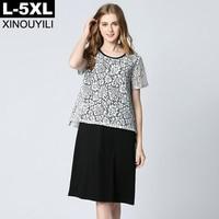 Lace Patchwork Big Size Modal Dress For Women 2018 Summer O Neck Short Sleeve Loose Dresses