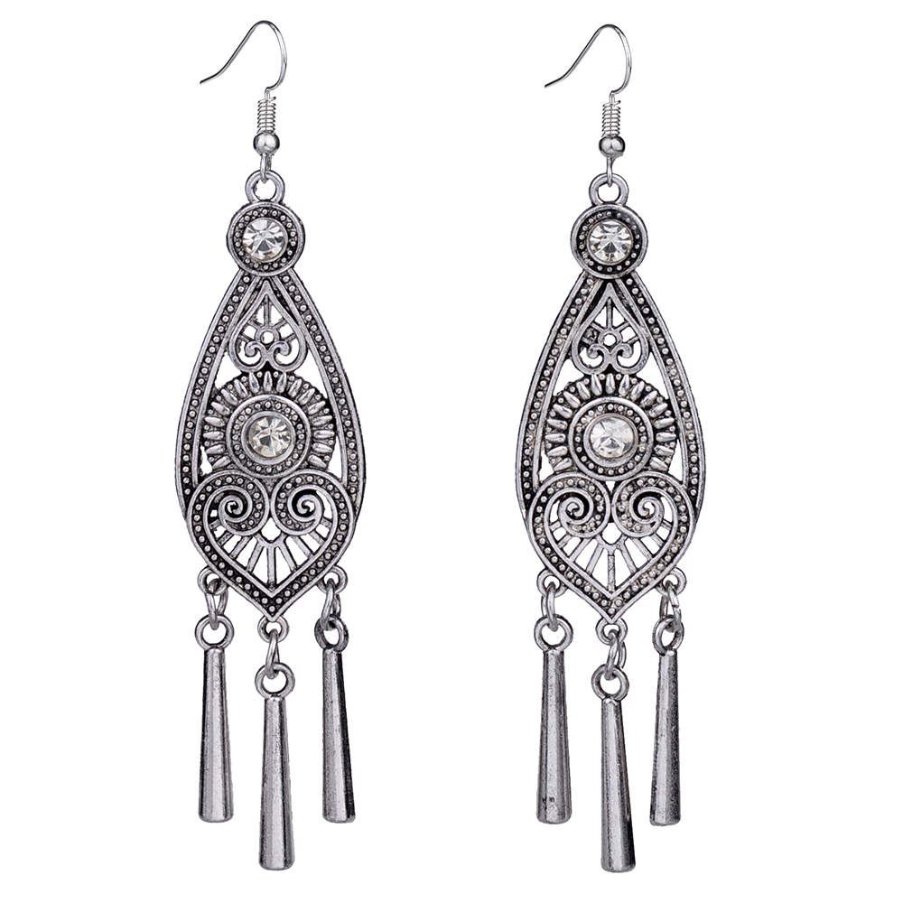 MYTHIC AGE Ethnic Tibetan Silver Color Hollow Geometric Long Earrings Vintage Jewelry Jewellery Gift For Women Girls