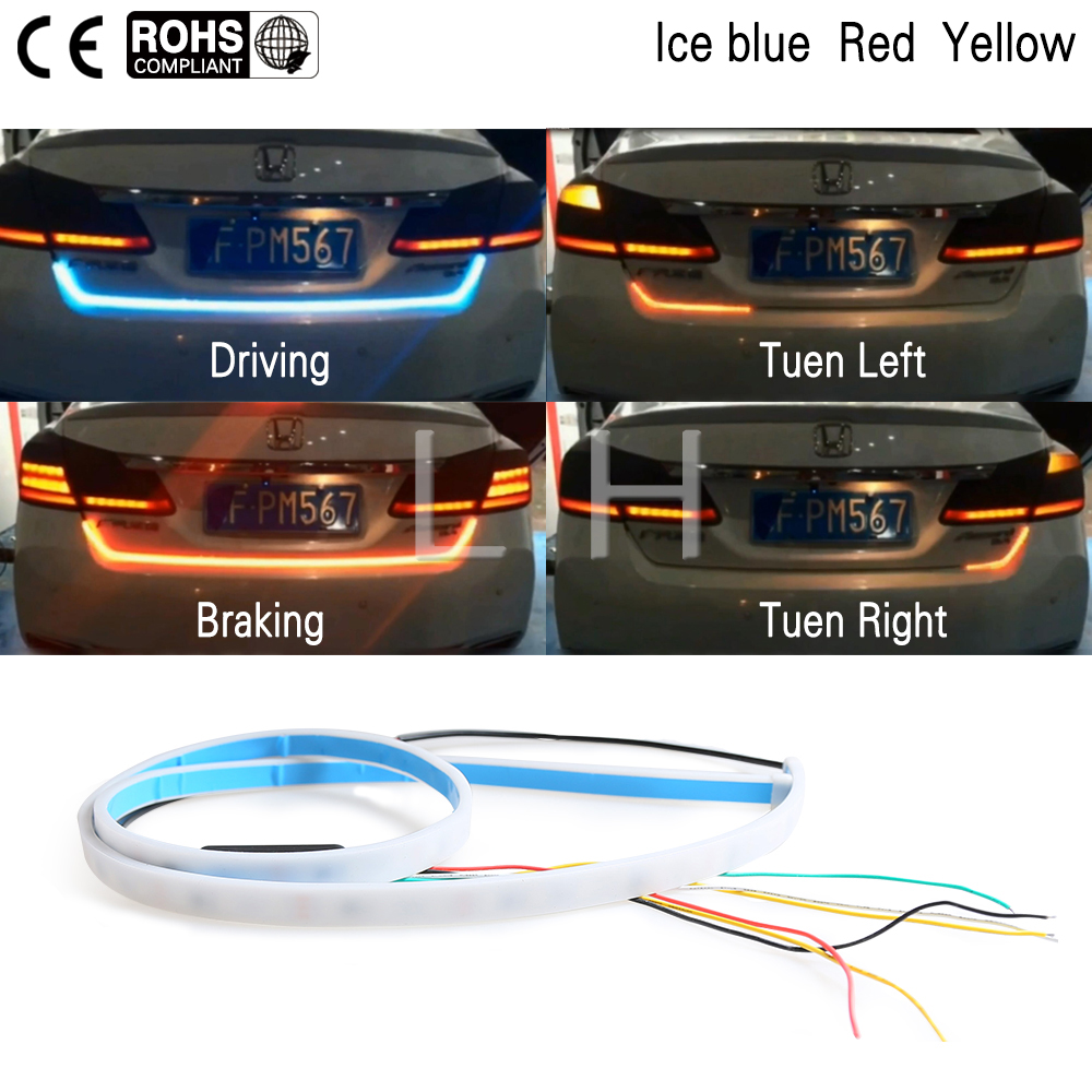 3 Color LED Car Tail Trunk Tailgate Strip Light Brake 120cm Driving Signal Knight blue&red&yellow