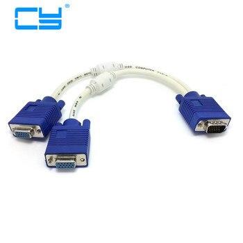 RGB VGA SVGA Male to 2 VGA two HDB15 Female Splitter Adapter extension Cable w/ core VGA splitter adaptor connector converter