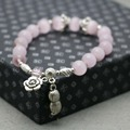 Retro Ethnic style Pink Crystal Lucky Cat eye Opal stones Bracelet hand chain for women girls Ladies beads Silver Pendant