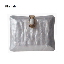 New Acrylic Brand Fashion Women Evening Bags Marble White Solid Handbags Luxury Wedding Should Party Vintage Pearl Clutch