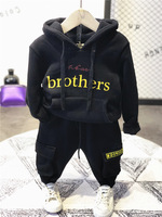 WLG boys girls winter velvet clothing set kids letter printed thick black hoodies and pant set baby casual all match clothes 2 7