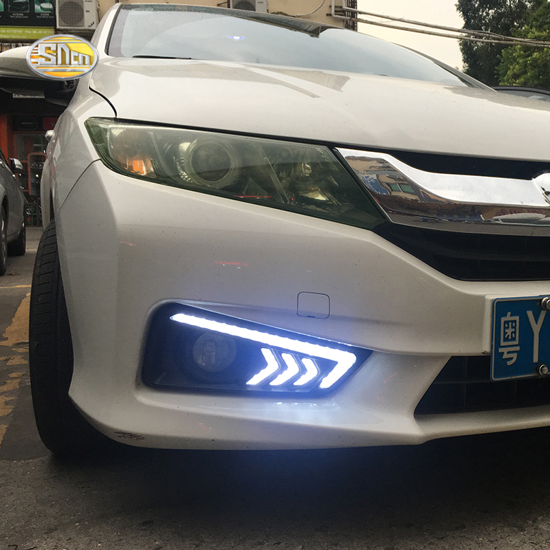 For Honda City Grace 2015 2016 SNCN LED daytime Running Lights fog lamp cover drl with yellow turn signal light
