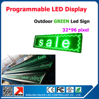 Single green 32*96dots Pixels LED Sign Programmable LED Scrolling Message Board Display For Advertising