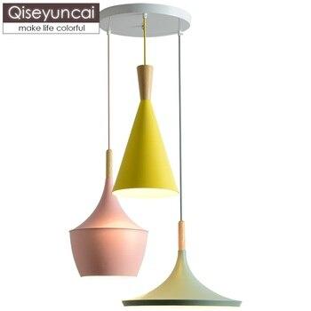 Qiseyuncai Nordic restaurant color macaron single head three head chandelier creative personality combination bedroom lamp