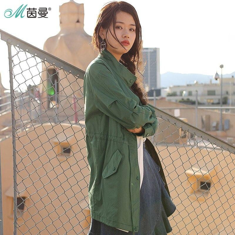 Inman 봄 옷 코튼 스탠드 칼라 레저, 여성용 트렌치 코트 코트-에서트렌치부터 여성 의류 의  그룹 1