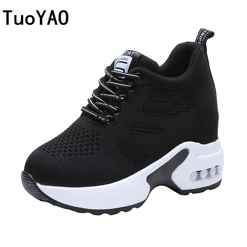 New Women Summer Mesh Platform Sneakers Trainers White Shoes 9.5CM High Heels Wedges Outdoor Shoes Breathable Casual Shoes Woman