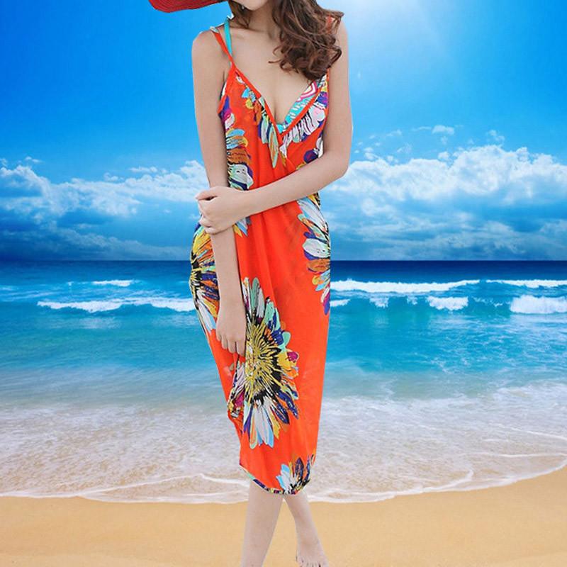 Women Beach Dress Swimwear Sexy Sling Beach Wear Dress Sarong Bikini Cover-ups Wrap Pareo Skirts Towel Flower Open-Back Swimsuit 5