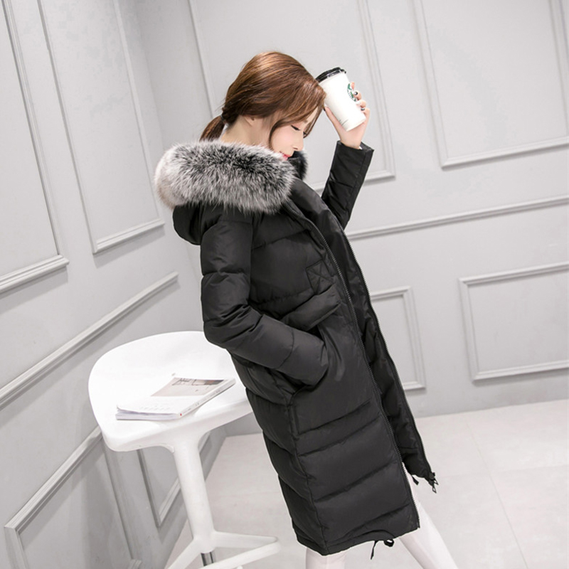 New Autumn Winter Faux Fur Collar Thick Long   Down     Coats   Women White Duck   Down   Jacket Big Pockets Hooded Windproof Outwears Mw461