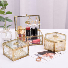 Glass Makeup Classic European Style Jewerly Box Cosmetic Organizer Lipstick Storage Bathroom Table