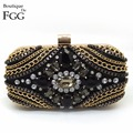American Brand Women's Black Evening Clutch Bags Golden Chains Crystal Patchwork Wedding Party Cocktail Handbag Clutches Purse
