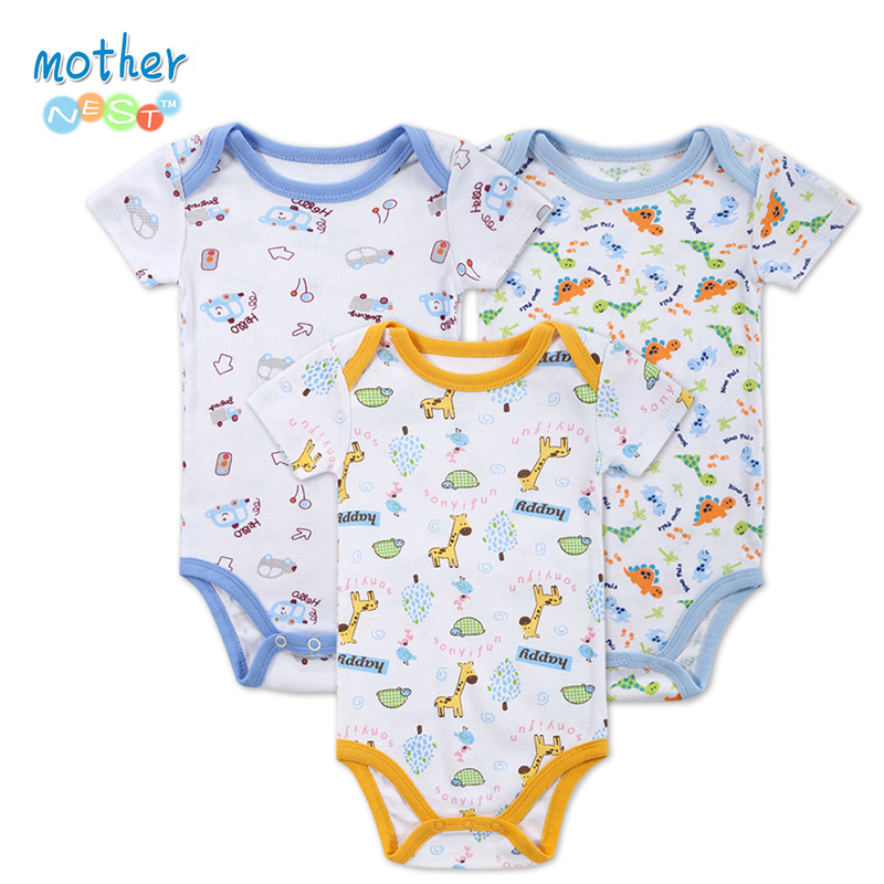 3 Pcs/Lot BABY BODYSUITS Printed Pattern Baby Clothes Short Sleeves Summer Baby Clothing for Girl Boy Baby Pajamas