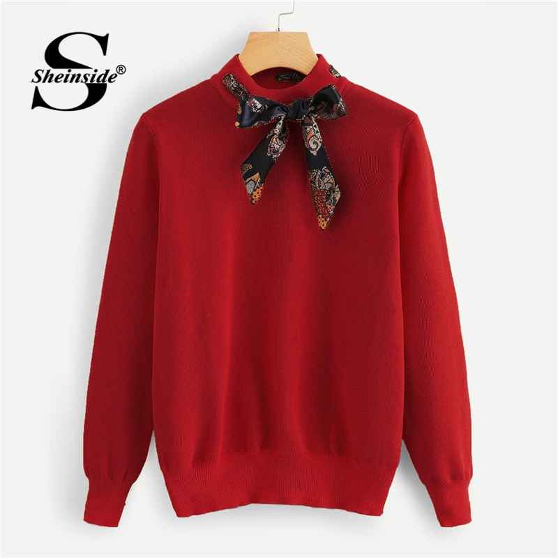Sheinside Red Tie Neck Knitted Sweater Women Clothing Autumn 2018 Office Ladies Jumper Long Sleeve Women Sweaters And Pullovers sweater