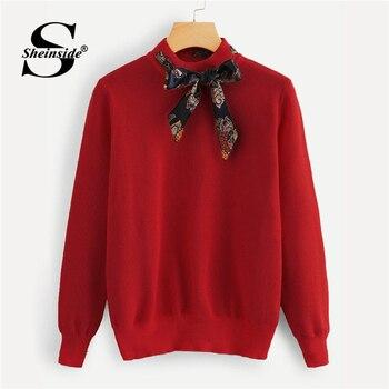 Sheinside rouge cravate cou tricoté pull femmes vêtements automne 2018 bureau dames pull à manches longues femmes chandails et pulls