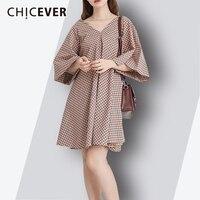 CHICEVER Plaid Woman Dress 2018 Spring Summer V Neck Three Quarter Flare Sleeve Vintage Women S
