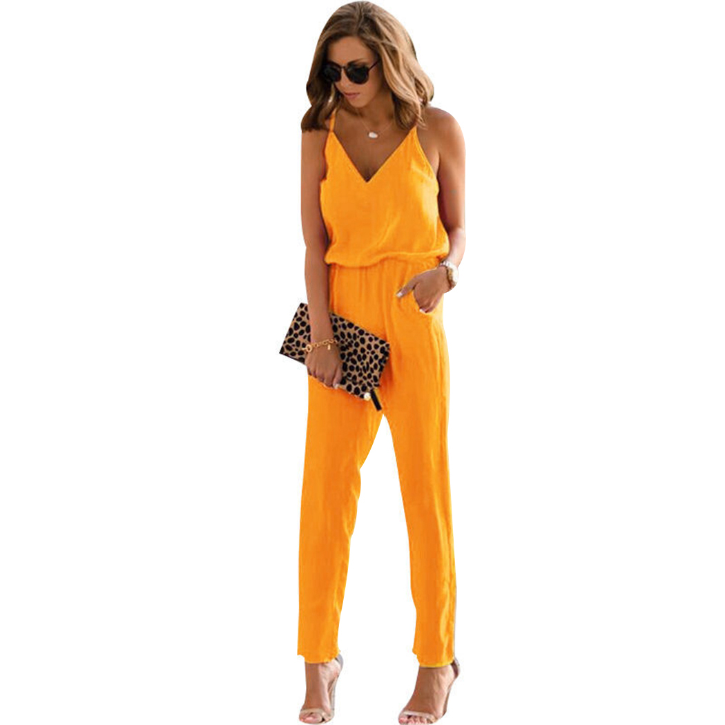 V-Neck Office Lady Jumpsuits For Women 2018 Romper Sleeveless Slim Beach Jumpsuits Trousers Ladies Overalls Bodycon Body Mujer