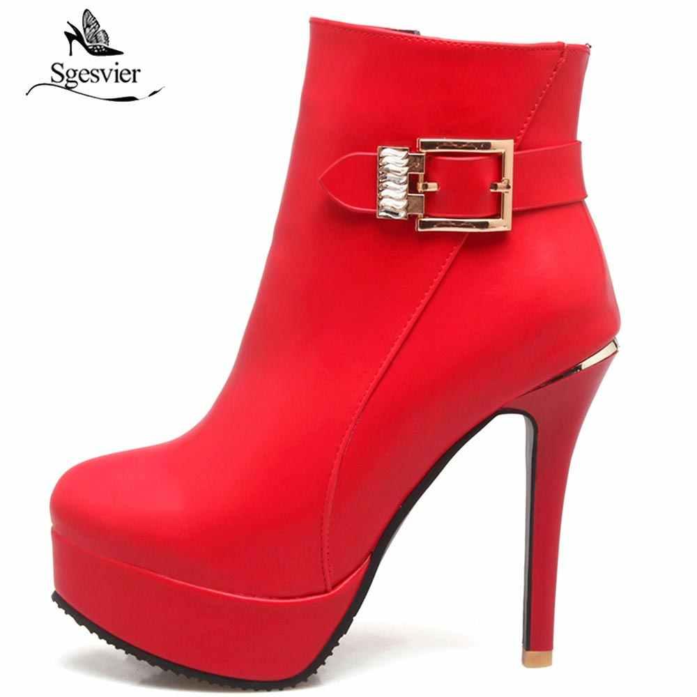 Sgesvier Yeni 2018 Kadın yarım çizmeler PU Deri Moda Yüksek Topuklu Seksi Kırmızı Beyaz Platformu Düğün Parti Bayanlar Ayakkabı Kadın OX675